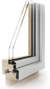 Sezione finestra Linear in legno e alluminio| DF Serramenti