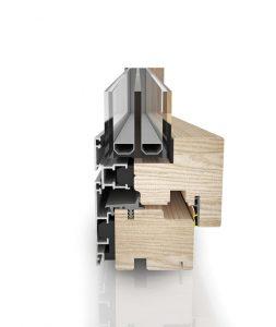Dettaglio sezione finestra Climax in legno e alluminio | DF Serramenti