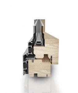 Dettaglio segmento finestre Linear in legno e alluminio | DF Serramenti