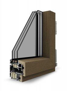 Dettaglio finestra Skywood Energy in legno alluminio Finitura infissi alluminio | DF Serramenti