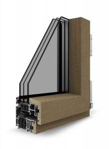 Dettaglio sezione Finestra Skywood Evo in legno e alluminio | DF Serramenti