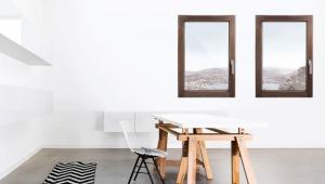 Finestra in legno, linea Minima, noce scuro | DF Serramenti