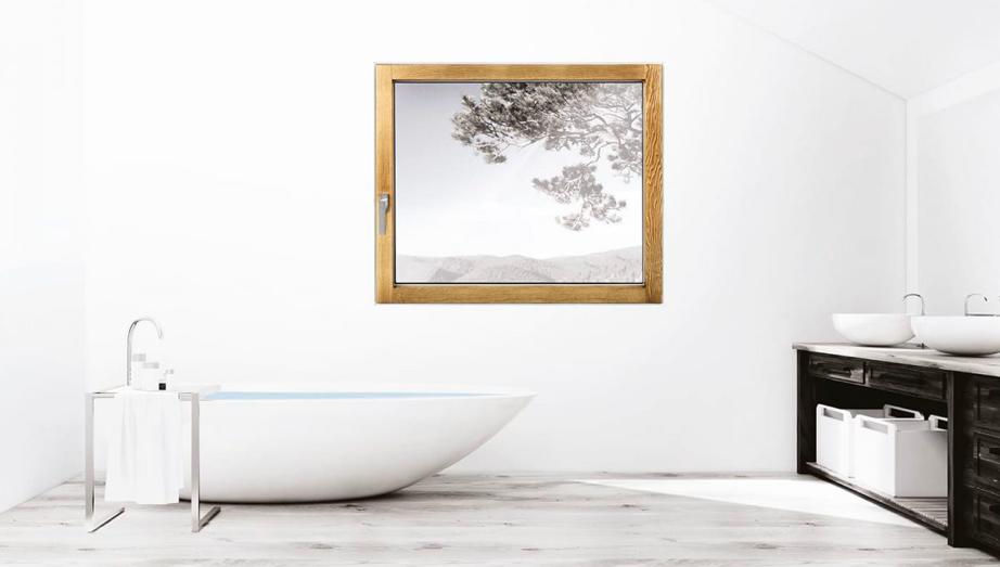 Finestra in legno, linea Minima, spazzolato miele | DF Serramenti